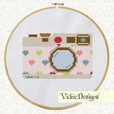 Hearts Retro Vintage Cute Pink Camera Cross by VickieDesigns, $5.00