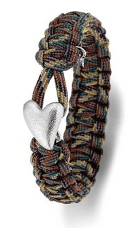 Camo - From Soldier to Soldier Bracelet Silver Heart Clasp