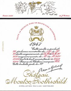 Since then, the label for each #vintage has been illustrated with the reproduction of an original #artwork especially created for #Mouton by a contemporary artist. #Cocteau, #Braque, #Dali, #Chagall, #Picasso, #César and, more recently, Guy de #Rougement have painted in their own colours, shapes and symbols the legend of Mouton.