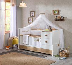 Patut transformabil din pal, pentru bebe Natura Baby White / Nature, 160 x 75 cm Baby Boy Rooms, Baby Room, Kidsroom, Cribs, Toddler Bed, Unisex, Interior Design, Furniture, Home Decor