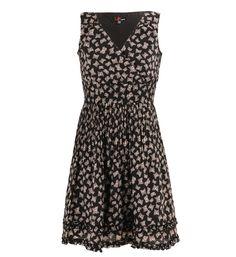 Robe décolleté portefeuille imprimé papillons Yumi Noir pour Femme - Galerieslafayette.com