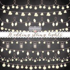 VECTOR Rustic String Lights Clipart wedding от 1burlapandlace