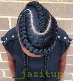 creative braided hairstyle with goddess braids