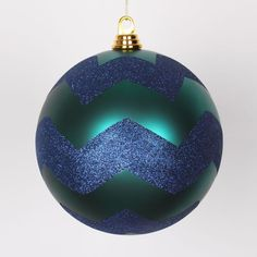 """Teal Green Matte with Sea Blue Glitter Chevron Commercial Size Christmas Ball Ornament 8"""" (200mm)"""