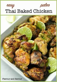 Easy Thai Baked Chicken An easy makeahead meal for busy nights full of your favourite Thai flavours The marinade for this easy recipe blends and balances those flavours h. Chicken Thigh Recipes, Chicken Flavors, Baked Chicken Recipes, Turkey Recipes, Paleo Recipes, Asian Recipes, Cooking Recipes, Cheap Recipes, Healthy Chicken