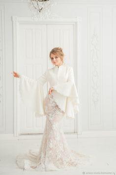 ad2804fb846b Свадебное пальто Белое пальто для особого случая «Гейша Крем» – купить в  интернет-