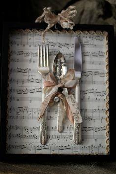 "Kitchen/Dining Room Wall Art Shadow Box ""Bless Thy Food"" Shabby Chic-OOAK-Handmade"
