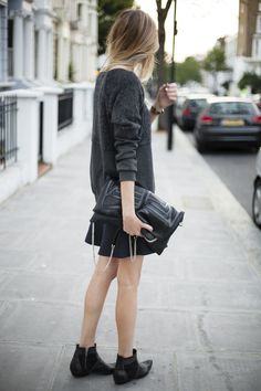 Sweater: Tibi || Skirt: Zara || Bag: Bracher Emden || Watch: Larsson and Jennings || Boots: Anine Bing [source: camilleovertherainbow]-This is exactly how I would like to be dressed today!!