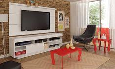 Conjunto para Sala de Estar com Rack, Painel para Tv, Mesa de Centro e Mesa Lateral Branco/Vermelho - Urbe Móveis