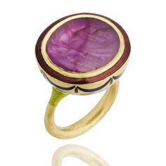 Gold Jodhpur antique Burmese ruby ring by Alice Cicolini