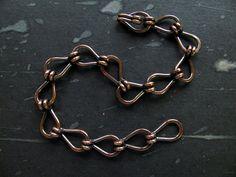Mens Copper Bracelet, Unisex Handmade Copper Link Chain Bracelet Industrial Style via Etsy