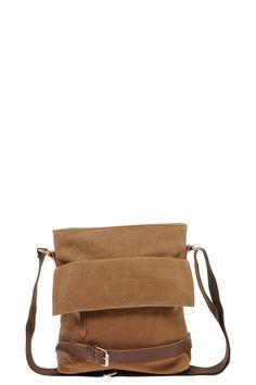 Canvas Messenger Bag at boohoo.com
