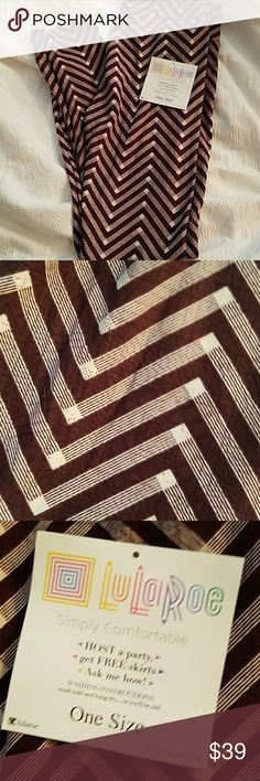 NWT LuLaRoe Chevron Print Onesize Leggings Brand new! LuLaRoe onesize leggings in a chevron print. The color is a very dark maroon or brown - definitely good if you're interested in a neutral. LuLaRoe Pants Leggings