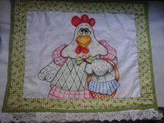 Guarda Travessa galinha com cestinha   Nuza Artes   Elo7
