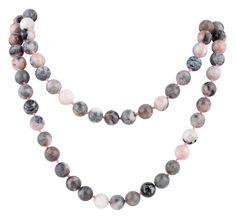 """32"""" 8mm Pink Zebra Jasper Round Gemstone Bead Necklace"""