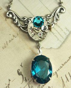 Steampunk Necklace Steam Punk Jewelry - Bermuda Blue Clockwork - Handmade by… Jewelry Crafts, Jewelry Art, Jewelry Accessories, Jewelry Design, Jewelry Chest, Fashion Jewelry, Steam Punk Jewelry, Steampunk Wedding, Steampunk Necklace