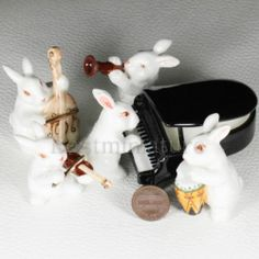 Rabbits Play Piano Music Band Set Miniature Animal Ceramic Statue Figurine | eBay