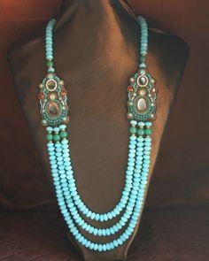 Blue Amazonite & Green Jade 3 Strand Station Necklace