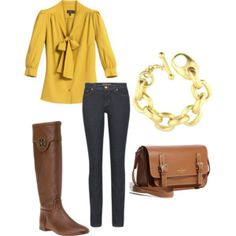 in love with the mustard yellow blouse