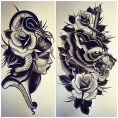 """wainktattoo: """" Couple more #paintings by Daniel Formentin @danielformentin - for bookings call the shop on 94305843 or email formentind@hotmail.com (at WA Ink Tattoo) """""""