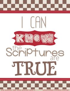 Sharing Time Ideas for January 2016 Week 4:  I can know the scriptures are true.