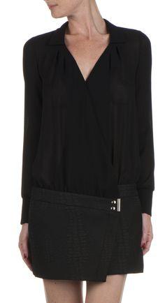 Robe courte décolleté cache-coeur Noir by BA & SH