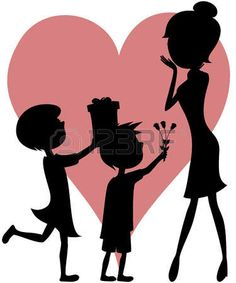 Surprise Mom - daughter and son silhouettes Silhouette Painting, Silhouette Clip Art, Black Silhouette, Mothers Day Crafts, Mother Day Gifts, Mother Daughter Art, Moss Decor, Family Drawing, Mother Images