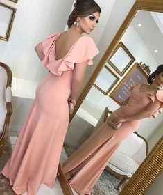 V Neck Sheath Blush Pink Long Prom Dress Jersey Formal Evening Gown on Luulla Prom Dresses Long Pink, Backless Prom Dresses, Bridesmaid Dresses, Pink Dresses, Dress Prom, Blush Prom Dress, Cap Dress, Wedding Dresses, Party Dresses