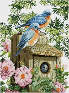 Garden blue birds ... Pattern can be found on my board