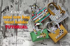 Easy paper tote bag - treat holder tutorial ♥ Stampin Up Cherry on top designer series paper Goodie Bags, Gift Bags, Paper Purse, Paper Shoes, Treat Holder, Tote Purse, Tote Bags, Stamping Up, Making Ideas