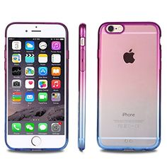 iPhone 6 Case, Vofolen(TM) iPhone 6 Cover Colorful Clear Shell Slim Case Translucent Impact Resistant Flexible TPU Soft Bumper Case Protective Shell for Apple iPhone 6 4.7 inch [4.7 inch] (Purple Blue)
