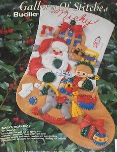 "Bucilla ""Santa's Workshop"" Felt Christmas Stocking Kit NIP #Bucilla"