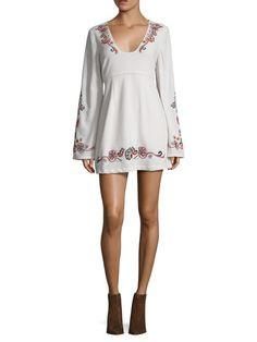 Holiday Folk Embroidered Mini Dress by Free People at Gilt