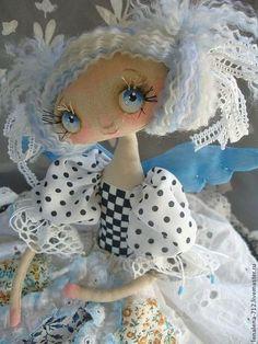 "Амели...интерьерная кукла в стиле ""прованс"" - чёрно-белый,интерьерная кукла..... (flirtatious eyes!  I love this doll artist!)...."