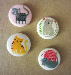 Sassy Cats Button or Magnets Pack 1 by PetitReve on Etsy, $6.00