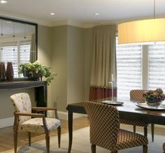 Flat pleated curtains act as stationary panels softening room and adding interest with contrast fabric and trim. Curtains similar to these can be custom-made at our stores. Pleated Curtains, Curtain Designs, St Louis, Window Treatments, Stationary, Contrast, Windows, Entertaining, Flat