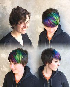 Oil slick hair color #pravana #rainbowhair #shorthair #pixie by @bbjam More