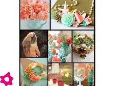 Resultado de imagen para Salmon  y verde agua combinacion para decorar una boda