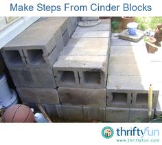 Steps with Cinder Blocks This guide is about making steps with cinder blocks. Whether making temporary or permanent steps, cinder block can be a useful building material.About us About us may refer to: Patio Steps, Cement Steps, Front Porch Steps, Brick Steps, Outdoor Steps, Garden Steps, Outdoor Landscaping, Diy Patio, Landscaping Ideas
