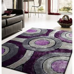 """Gray Purple 4' x 5'4"""" Exact Size Office/Home Décor Shag Area Rug in Home & Garden, Rugs & Carpets, Area Rugs 