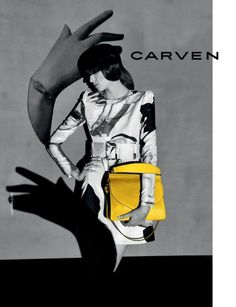 Love this pop of yellow. Influenced by the Dada Movement, the Carven's F/W 2014 Campaign looks more like art than advertising. // #Fashion #Art