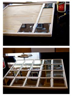 """Sew Dang Cute Crafts: Round 1 Projects - Using 1/2"""" poplar trim, small rectangular mirrors,liquid nails and a large 1/2"""" thick piece of plywood"""