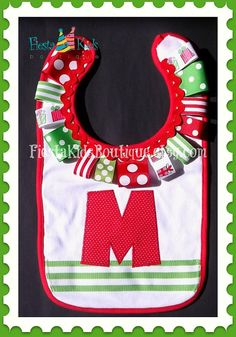 Baby girl Christmas bib with initial or name applique by FiestaKidsBoutique