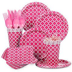 Hot Pink Quatrefoil Party Ideas and Supplies | WholesalePartySupplies.com