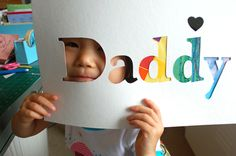 Child's art + White paper w/ Letters cut out (name, age, title, etc...) = cute gift