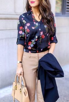 Floral Blouse for Work. Work Wear. Work Outfits. Outfits for Work. Professional Outfits. Floral blouses. Work Pants. #officestyle #workwear #workoutfits #womenworkoutfits