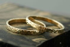 Gold Stacking Rings 14k Gold Hammered Finish by Specimental, $600.00