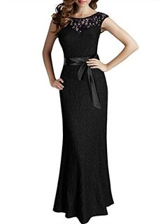 Miusol Women's Elegant Sleeveless Halter Black Lace Bridesmaid Maxi Dress,Black,XLarge