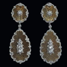 BUCCELLATI~ 18k gold and diamond lace filigree earrings.
