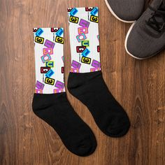 Skateshop Socks - TROUBL3 SKATEBOARDS | TROUBL3 Skateboards Custom Skateboards, Artwork Prints, Bold Colors, Crisp, Socks, Printed, Black, Vivid Colors, Black People